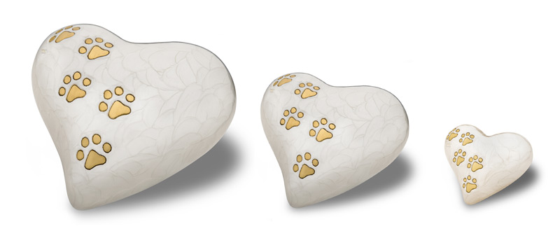 Heart Pearlescent White pet urn